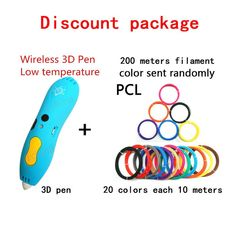 Wireless 3d Pen low Temp LED Display lamp Free 6Color PCL Filament or 3D pen with 60M or 200M OPT Fashion DIY Gift for student //Price: $0.00//     #Gadget