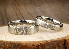 Your Actual Finger Print Rings, Christmas Gifts - His and Her Promise Rings - Handmade Wedding Titanium Rings Set