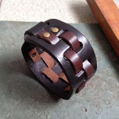 Antique Men's Brown Leather Cuff Bracelet Leather by pier7craft, $10.50
