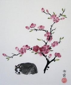 boston terrier cherry blossom tattoo or maybe just a picture on the wall???