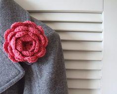 flower brooch organic cotton crochet by BabanCat on Etsy, £9.50