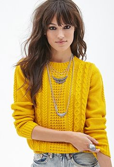 Mustard and Chartreuse are some of my favorite colors. <3  Cable Knit Sweater | Forever 21 - 2055906613