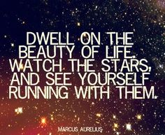 Dwell on the beauty of life. Watch the stars and see yourself running with them. Marcus Aurelius Quote