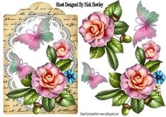 Pretty wild summer roses on lace with butterflies and script on Craftsuprint - Add To Basket!