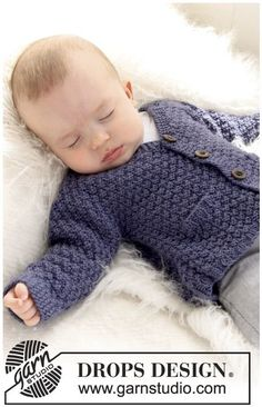 Checco& Dream / DROPS Baby - Free Knitting Pattern Checco's Dream / DROPS Baby – Kostenlose Strickanleitungen von DROPS Design Knitting pattern jacket - Baby Sweater Knitting Pattern, Knitted Baby Cardigan, Knit Baby Sweaters, Knitted Baby Clothes, Crochet Jacket, Baby Scarf, Knitting Sweaters, Sweater Patterns, Baby Knits