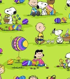 Holiday Inspirations Fabric-Peanuts Egg Hunt 2, , hi-res