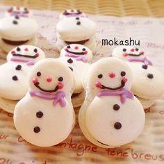 snowman macarons♡