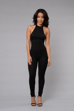 Available in Black and Taupe - Halter Neck - Open Back - Skinny Leg - Made in USA - 95% Polyester 5% Spandex