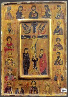 Crucifixion of Christ with the chosen saints; Transfiguration Of Jesus, Crucifixion Of Jesus, Byzantine Icons, Byzantine Art, Religious Icons, Religious Art, Church Icon, Christian Artwork, Russian Icons