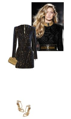 """Christmas Party."" by drenchedinglam ❤ liked on Polyvore featuring Balmain, Giuseppe Zanotti and Sergio Rossi"