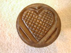 Primitive Pennsylvania Dutch Hand Carved Wood Butter Mold w Waffle Heart Design   eBay sold  50.00
