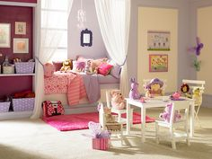 FANCY pink and purple SHARED ROOM for little girls | Little Girl's Bedroom