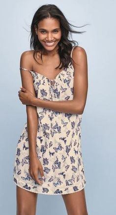 Feminine and flirty, this cream printed chemise is perfect for a cool summer night sleep.