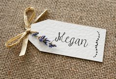 Rustic, Vintage, Lavender and Raffia Wedding Place Card Tag by LittleIndieStudio on Etsy https://www.etsy.com/uk/listing/255854144/rustic-vintage-lavender-and-raffia