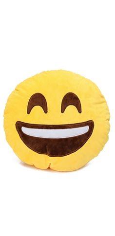 8232e20bca8 Yellow Black White Smiling Open Mouth Emoji Face Plush Stuffed Pillow Yellow  Black, Black And
