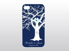 Navy Blue Wedding Tree iPhone Case  Bride To by GoldenDaysDesigns, $15.00