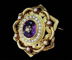 Amethyst, pearl and gold brooch.