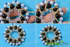 Add yellow bugle bead embellishments