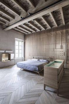 Bedroom design in wood