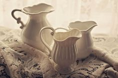 Fine Art Photography White China Pitchers on by bluemoonstudio, $15.00