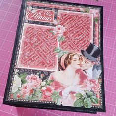 Now guess who started a new #minialbum #scrapbook #scrapbooking using the pretty #graphic45 @graphic45  #monamour paper I got from The Little Craft Shop. Started with the cover first. Usually I start with the pages. Happy #crafting you all.