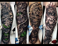 black and white tattoo, sleeve, vladimir drozdov, ukraine