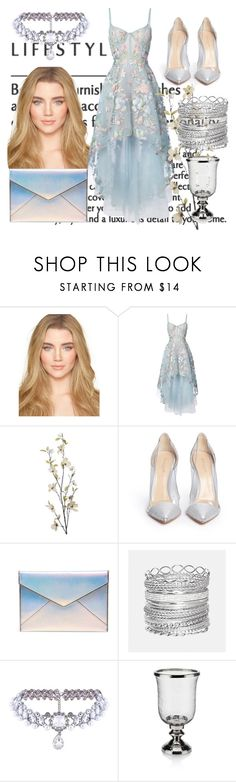"""Untitled #82"" by juliamepos ❤ liked on Polyvore featuring Notte by Marchesa, Pier 1 Imports, Gianvito Rossi, Rebecca Minkoff, Avenue and WithChic"
