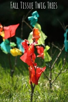 Tissue Twig Trees - happy hooligans - colourful Fall craft for kids