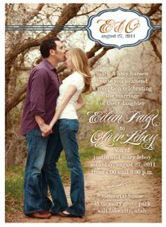 Love this photo wedding invitation!  http://www.jaffaprinting.com/wedding/invitations/contemporary/eileen/eileen.htm