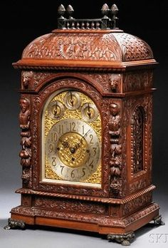 Bracket Clock; English, Elliot?, Carved Mahogany, Gallery Dome Top, Brass & Silvered Dial, Chimes, 8 Day, 29 inch. Clocks For Sale, Cool Clocks, Plywood Furniture, Antique Clocks, Vintage Clocks, Eames, Mantle Clock, Bikes For Sale, Grandfather Clock