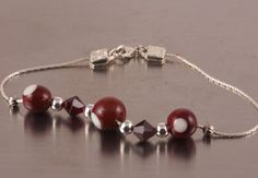 Ohio Buckeye sterling bracelet Lampwork glass by LillyBelleBeads, $36.50