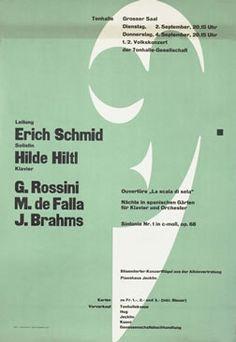 Muller-Brockmann, Josef poster: Schmid, Hiltl - Rossini, de Falla, Brahms