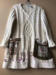 Listing created for expedited UPS shipping RESERVED Upcycled Thick chunky Warm V-Neck Sweater Tunic Shabby Chic Sewing Clothes, Diy Clothes, Thrift Store Refashion, Sweatshirt Makeover, Newspaper Dress, Diy Kleidung, Recycled Sweaters, Sweater Refashion, Recycled Fashion