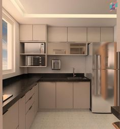 Image may contain: kitchen and indoor Kitchen Layout Interior, Kitchen Layout Plans, Small Kitchen Layouts, Modern Kitchen Interiors, Kitchen Room Design, Modern Kitchen Cabinets, Modern Kitchen Design, Home Decor Kitchen, Kitchen Cupboard Designs