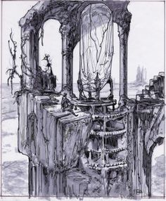 Ancient Sheevran ruin, with crystalline obelisk in center.  The Sheevra use crystal-based mechanics and technology for a wide variety of purposes.  In this case, it was likely that the crystal would be lit to communicate a signal, as modern crystal towers do.