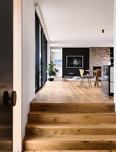 """Potentail idea for entry. Open up the entry and design wider steps into house like picture. May need to go """"into"""" the current second entry. Point Lonsdale House by InForm - Design Milk Decor Interior Design, Interior Decorating, Decorating Ideas, Decor Ideas, Decorating Websites, Room Ideas, 31 Ideas, Furniture Design, System Furniture"""