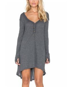Women's Long Sleeve V Neck Irregular Button Dress Gray S - Yesfashion.com in Free Shipping