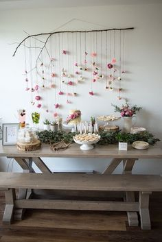 Boho bridal shower idea - boho chic dessert table {Courtesy Kara's Party Ideas}