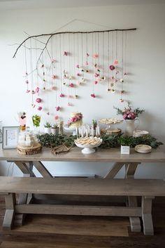 Boho bridal shower idea - boho chic dessert table {Courtesy Kara's Party Ideas}