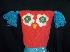 owl hat from recycled wool sweaters
