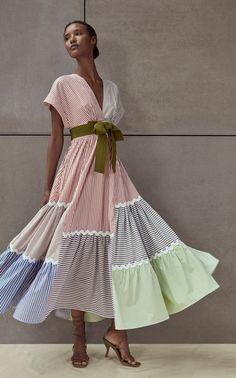 Marta Liga Cotton Patchwork Dress by Silvia Tcherassi Casual Dresses, Fashion Dresses, Summer Dresses, Party Dresses, Mode Kimono, Satin Midi Skirt, African Dresses For Women, Patchwork Dress, Mode Inspiration