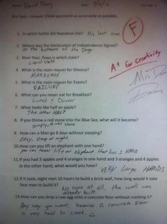 Funny answers to a test.