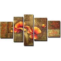 @Overstock - Artist: Unkownn  Title: Orange Flowers  Product type: Hand-painted oil on canvas arthttp://www.overstock.com/Home-Garden/Orange-Flowers-Hand-painted-Canvas-Art-Set/5105713/product.html?CID=214117 $135.99