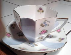 shelley queen anne pansy forget me not tea cup and saucer in Pottery & Glass, Pottery & China, China & Dinnerware | eBay