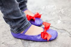 I don't know that I could do that to a pair of ballet shoes but these are cute! (in different colors) spray paint ballet flats & add a bow :)