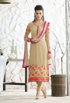 Semi Stitched Beige Georgette Straight Cut Suit #Long #Kameez With #Straight #Pant #churidar #embroidery #Churidar #cotton #Georgette Item Code-skcai51 price-US$61.56