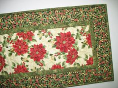 Christmas Table Runner Quilted Poinsettias  by PicketFenceFabric, $33.95