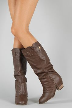 Yanny-1 Zipper Round Toe Knee High Boot