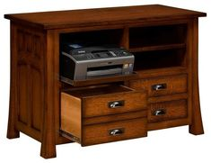Amish Bridgeport Printer Stand House your printer, paper and other office supplies in a Bridgeport. Built in choice of wood, stain and hardware. #printerstand #officefurniture