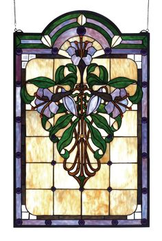"22""W X 35""H Nouveau Lily Stained Glass Window"